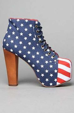 Jeffrey Campbell The Damsel Shoe in Stars and Stripes Flag patterned canvas wedge bootie with hidden platform; By Jeffrey Campbell Dream Shoes, Crazy Shoes, Me Too Shoes, Jeffrey Campbell, Hot Shoes, Blue Shoes, Knee High Boots, High Heels, Shoe Closet