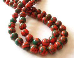 "Green Orange Round Beads - Phoenix Stone Round Beads - Smooth Round Ball - 10mm - Center Drilled Gemstone - 16"" Strand - DIY Jewelry Making"