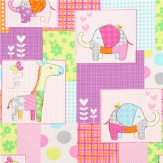 cute zoo animal patchwork fabric giraffe Michael Miller
