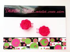 Mini rose snap clipssaddle stitch ribbon by DecorativeMatters, $6.00