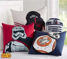 These plush pillows boast their favorite characters and droids to add iconic Star Wars™ design and comfort to their bed.