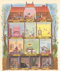 encyclo by pilllpat (agence eureka)Vintage dollhouse; encyclo by pilllpat (agence eureka) Paper Doll House, Paper Dolls, Vintage Dollhouse, House Drawing, Children's Book Illustration, Vintage Children, Home Art, Drawings, Artwork