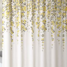 Pretty flower petals streak down this gorgeous shower curtain as if they are on vines. This design will create a serene and spa-like atmosphere in any bathroom. Printed on microfiber. Gold Shower Curtain, Yellow Shower Curtains, Flower Shower Curtain, Yellow And Grey Curtains, Tropical Bathroom, Shower Liner, Design, Bathroom Ideas, Bathroom Updates