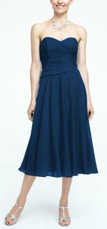 Strapless Crinkle Chiffon Tea Length Bridesmaid Dress, Style F15722 #davidsbridal #bridesmaiddress #rusticwedding