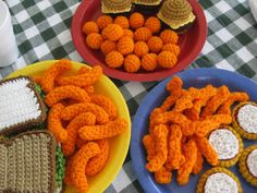 Hello! Its a crocheted cheezy chips party with cheezy ballz, cheezy puffz, cheezy curlz, mini cheeseburgers, mini sandwiches and mini pizza bites! The cheeseburger comes with the full works (cheese, lettuce, tomato and onion), which can also be purchased separately. Please see my other listings.  **This listing is for the PATTERNS and not the finished items.  *Skill level Beginner *Prerequisite knowledge ac = adjustable circle, working in the back ridge of a chain  *Yarn Any medium weigh...