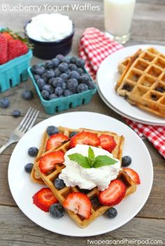 Blueberry Yogurt Waffles Recipe on twopeasandtheirpod.com #breakfast #waffles