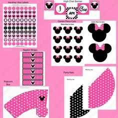 DIY Minnie Mouse Pink Deluxe PRINTABLE  by CupcakeExpress2 on Etsy, $35.00