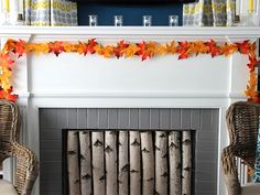 DIY Fall Leaves Garland -- cheap and easy craft // http://blog.diynetwork.com/maderemade/how-to/diy-fall-leaves-garland/?soc=pinterest