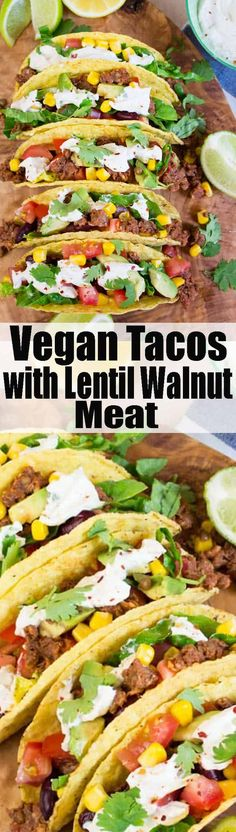 These vegan tacos with lentil walnut meat with cashew sour cream are pure comfort food! Vegan fast food made healthy! Find more vegan recipes at veganheaven.org! <3