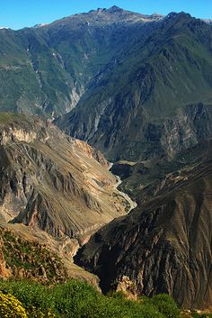Peru, Colca Canyon, Arequipa    The Colca Canyon is a canyon in southern Peru about 100 miles (160 kilometers) northwest of Arequipa. It is more than twice as deep as the Grand Canyon in the United States 4,160 m. However, the canyon's walls are not as vertical as those of the Grand Canyon
