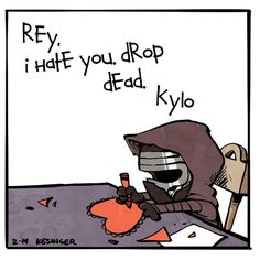 Calvin and Hobbes inspired, brian kesinger, Happy Valentine's Day from lil Kylo.