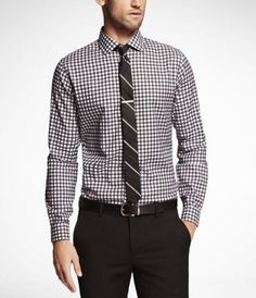 PLAID FITTED SPREAD COLLAR FRENCH CUFF SHIRT at Express - $30 - Large