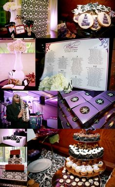 Purple black and white wedding reception details, guestbook poster, sweets table, favor boxes, lighting and photo booth.