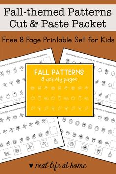 Autumn Activities For Kids, Kids Learning Activities, Kindergarten Activities, Toddler Activities, Simple Math, Basic Math, Pattern Worksheet, Math Patterns, Early Math