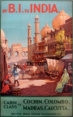 BI Cruise Line to India, 1930s - original vintage poster by O Brown listed on antikbar.co.uk V T TV BV