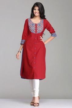 Magical Maroon Straight Khadi Cotton Kurta With Blue Ajrakh Patch & Front Buttons By Farida Gupta Salwar Pattern, Kurta Patterns, Dress Patterns, Salwar Designs, Kurti Neck Designs, Indian Dresses, Indian Outfits, Simple Dresses, Casual Dresses