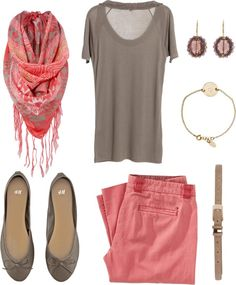 """""""Taupe and Coral"""" by bluehydrangea on Polyvore"""