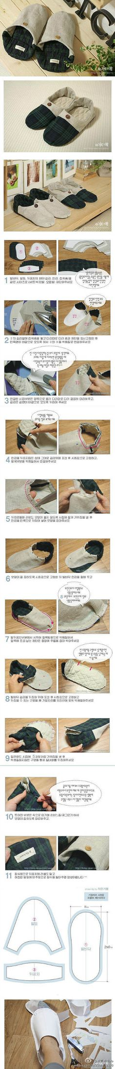 DIY Slippers (in Chinese, but with a fairly easy-to-understand photo tutorial) Sewing Hacks, Sewing Tutorials, Sewing Patterns, Fabric Crafts, Sewing Crafts, Sewing Projects, Diy Projects, Diy Clothing, Sewing Clothes