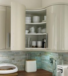 Howdens Glendevon Flint Grey Kitchen Range with curved ends and corners Ikea Kitchen Wall Cabinets, Kitchen Corner Units, Kitchen Cabinet Sizes, Floating Shelves Kitchen, Kitchen Tops, New Kitchen, Kitchen Ideas, Kitchen Planning, Kitchen Cupboard