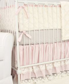 This 2 pc. set features a sweet classic taupe dot crib sheet and a gorgeous pink vintage lace double ruffle crib skirt. This crib bedding set will bring a look of elegance to any baby girl's nursery. Vintage Bedding Set, Vintage Crib, Vintage Lace, Vintage Pink, Vintage Nursery Girl, Nursery Bedding Sets Girl, Toddler Girl Bedding Sets, Girl Nursery, Baby Cribs