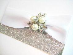 sparkly vintage pearl wedding invitation from Amor Designs www.amorinvites.com