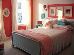 For K's room: Accent walls pop of color, same color over headboard, neutral bedding, pop of similar colors on pillows and art work.