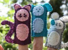 felt cat finger puppet