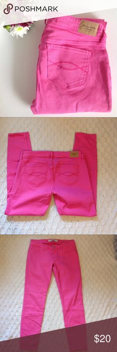 "Abercrombie & Fitch Pink Skinny Jeans A&F pink skinny jeans, size 8, small hole in right pocket barely even noticeable, some stretch, approximate measurements when laying flat: waist 16"", length: 36"", inseam: 28"" Abercrombie & Fitch Jeans Skinny"