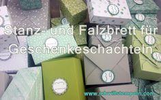 Many sizes made with the Punchboard for Gift boxes - Stanz-und-Falzbrett-für-Geschenkeschachteln viele verschiedene Größen