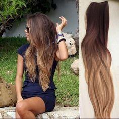 Full Head Dip dye Clip in Human Hair extensions Ombre 6 Pcs Dark brown to dirt blonde by Devalook on Etsy https://www.etsy.com/listing/239281517/full-head-dip-dye-clip-in-human-hair