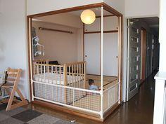 ベビーフェンス【After(製作後)】 Baby Bedroom, Kids Bedroom, Kid Spaces, Small Spaces, Baby Play Areas, Diy Apartment Decor, Tiny House Design, Baby Furniture, Baby Cribs