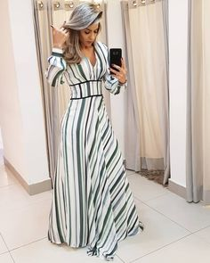Modest Dresses, Modest Outfits, Skirt Outfits, Casual Dresses, Dress Skirt, Dresses With Sleeves, Stripped Maxi Dresses, Striped Dress, African Fashion Dresses