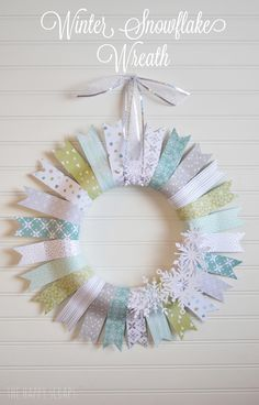 Winter Snowflake Wreath. Cut beautiful Snowflakes with your Cricut and add them to your wreath!