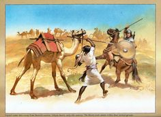 Vandal raider shies away from Moorish warrior. The Moors used camels within their tactical groups (Libyan desert, early VI century). Fantasy Warrior, Fantasy Art, Age Of Barbarian, Early Middle Ages, Middle East, Bridesmaid Outfit, Dark Ages, Moorish, Historical Pictures
