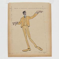 """SELF PORTRAIT AS PUPPETEER By Lyonel Feininger Artwork Description Dimensions: 12 X 9 1/2"""" in Medium: ink and watercolor Signed"""