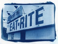 Cyanotype Eat Rite Diner Diner Kitchen home by FengShuiPhotography #cyanotype #photography #sunprint