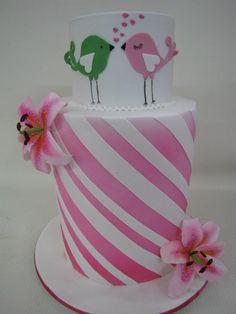 Pink Love Birds cake