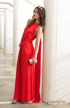 Вечернее красное платье в греческом стиле