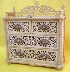 Nest of drawers, scroll saw fretwork pattern