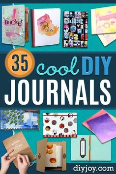 DIY Journals - Ideas For Making A Handmade Journal - Cover Art Tutorial, Binding Tips, Easy Craft Ideas for Kids and For Teens - Step By Step Instructions for Making Arts And Crafts Projects, Arts And Crafts Supplies, Easy Crafts, Decor Crafts, Vinyl Projects, Cover Art, Mini Albums, Homemade Journal, Diy Notebook