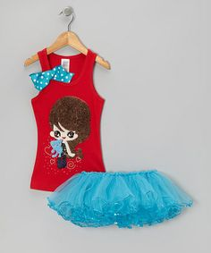 Take a look at this Red Girl Tank & Blue Tutu - Toddler & Girls by Bling Diva on #zulily today!