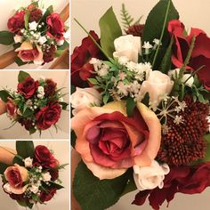 A wedding bouquet of artificial pink and burgundy roses Artificial Wedding Bouquets, Pink Rose Flower, Floral Wreath, Burgundy, Roses, Bridesmaid, Flowers, Maid Of Honour, Floral Crown