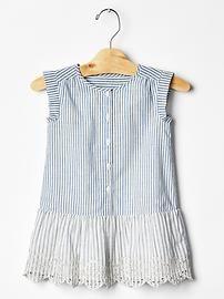 Stripe eyelet drop-waist dress