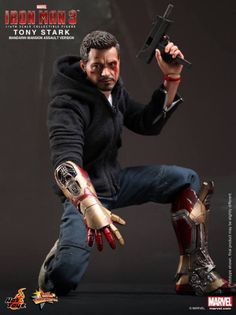 "Hot Toys Armorless Iron Man Figure ""Tony Stark (The Mechanic) Collectible Figurine"""