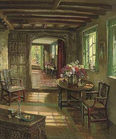 Herbert Davis Richter (1874-1955)  A sunlit interior  signed 'H.DAVIS RICHTER' (lower right)  oil on canvas  30 x 24 in. (76.2 x 61 cm.)