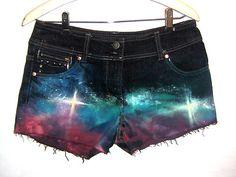 Loveeeeee. OMBRE REWORKED Tie Dye Denim Shorts Galaxy Space Studs 10 GRUNGE | eBay