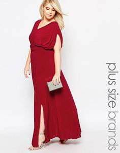 Club L Plus Size Slinky Maxi Dress With Drape Front And Side Split - Red