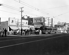 (1955) Special rail fan excursion on Brand Boulevard and Broadway in downtown Glendale after the Glendale-Burbank Line had been converted to bus service on June 19th. Metropolitan Coach Lines operated streetcars no.5010 and no.5160 for the event.