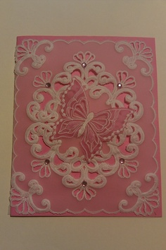 Parchment Card Pink Butterfly
