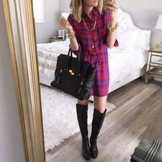 The cutest plaid dress ever! I seriously would wear this everyday if I could   @liketoknow.it www.liketk.it/1MV5I #liketkit size up it runs small in my opinion #ootd #wiw #plaid #fallstyle #shirtdess #philliplim #otkboots